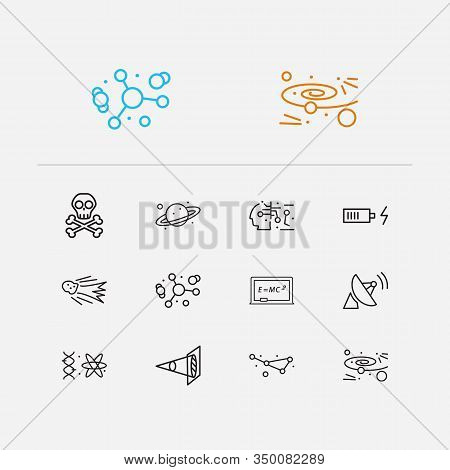 Physics Icons Set. Optical Physics And Physics Icons With Quantum Physics, Constellation And Atomic
