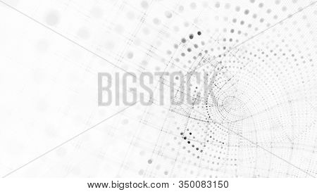 Abstract white and black background element. Fractal graphics 3d illustration. Wide format composition of grid cells and circles. Information technology concept.