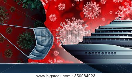 Cruise Ship Coronavirus Public Health Risk  On A Boat Liner As A Contagious Disease And Flu Outbreak