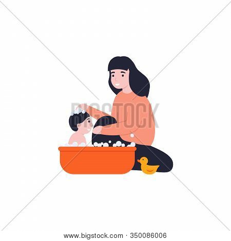 Young Mother Bathes Play Her Little Baby. Mom Taking Care Of Little Kid. Flat Vector Cartoon Illustr