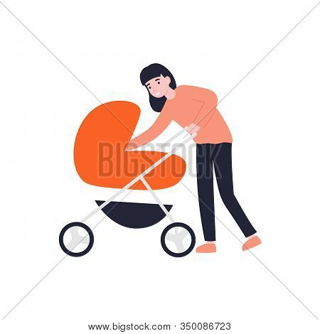Mother Walking With A Newborn That Is In The Pram. Mom Leaned Over The Pram Baby Carriage. Flat Vect