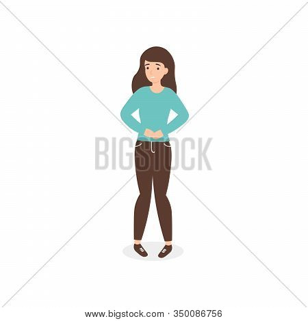 Urinary Tract Infections Or Cystitis. Flat Vector Cartoon Woman Character Isolated White Background.