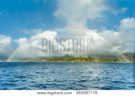 Double Rainbow Over The Caribbean Island View From The Sea, Saint Pierre, Martinique,  French Overse