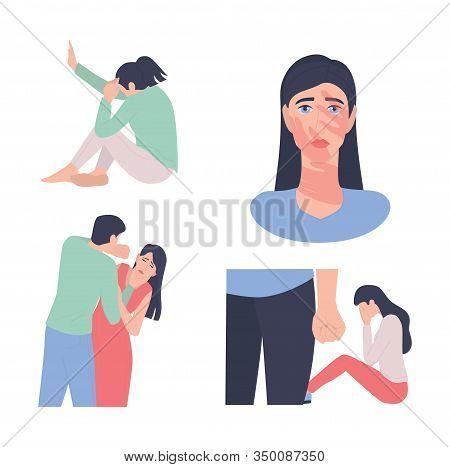 Domestic Abuse Set. World Social Gender Problem. Stop Abuse