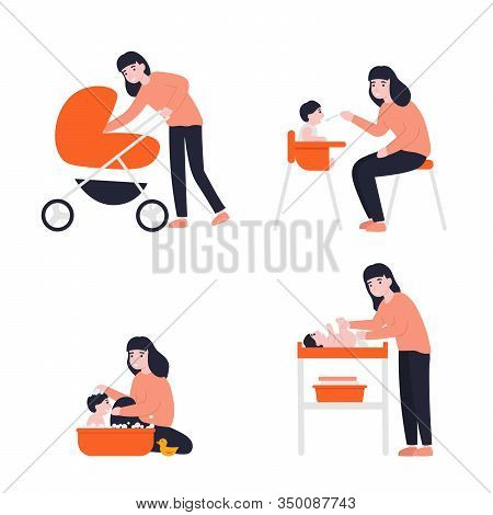 Mother Feeding Her Little Baby, Walking With A Newborn That Is In The Pram, Bathes Play, Change Diap