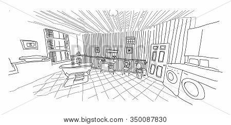 Retro Style Bathroom Interior, Furniture And Decor. Scheme For Bathroom, Reconstruction Shower. Embo