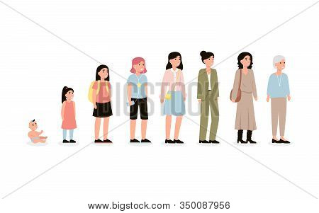 Concept Of Female Character Different Age. Cycle Of Life From Baby To Old Age Person. Aging Process.