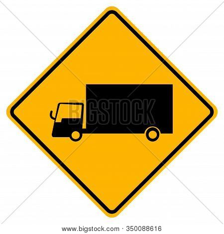Warning Truck Traffic Road Yellow Symbol Sign Isolate On White Background,vector Illustration Eps.10
