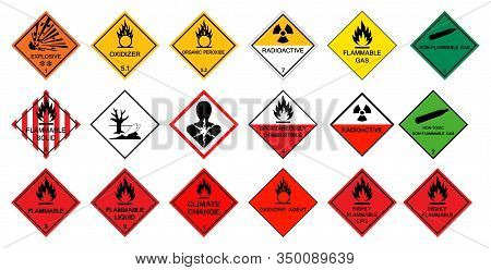 Warning Transport Hazard Pictograms,hazardous Chemical Danger Symbol Sign Isolate On White Backgroun