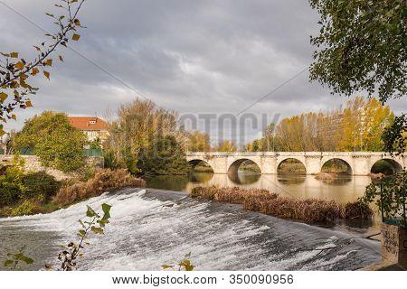 Medieval Stone Bridge, Puente Mayor, Crossing Carrion River, Palencia, Spain