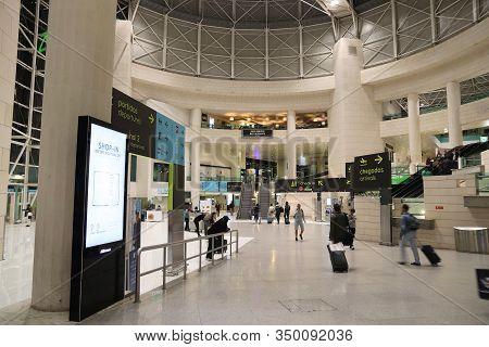 Lisbon, Portugal - May 20, 2018: Passengers Wait At Lisbon Portela International Airport In Portugal