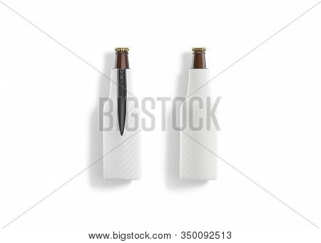 Blank White Collapsible Beer Bottle Koozie Mockup, Front And Back, 3d Rendering. Empty Cold Beverage