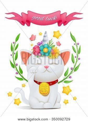 Unicorn Cat Maneki Neko Cartoon Character With Good Luck Title. Vector Illustration