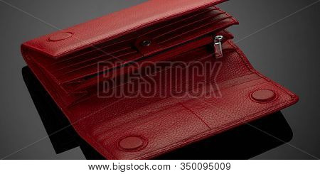 Women's Wallet On A Black Background