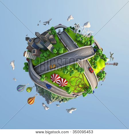 Concept World Showing Diversity Of Landscapes, Roads, Cities, Transportation, And Lifestyles With A