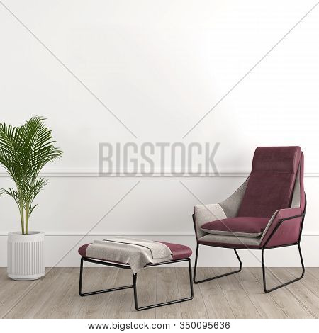 Interior Design Modern And Elegant Consisting Of Armchair With Footrest And Tropical Plant On A Pot