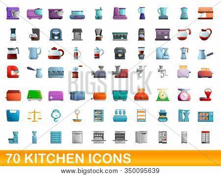 70 Kitchen Icons Set. Cartoon Illustration Of 70 Kitchen Icons Vector Set Isolated On White Backgrou