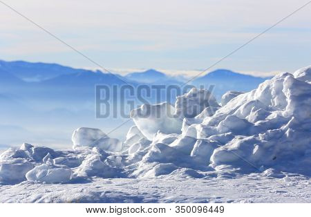 landscape with ice in mountains. Winter in Slovakia. Tatra mountains
