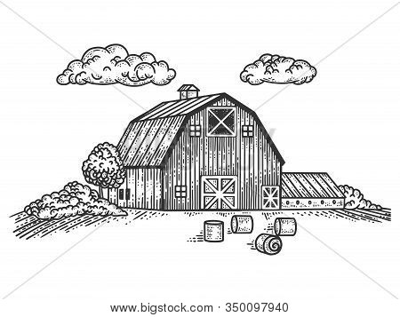 Wooden Country Farm House Sketch Engraving Vector Illustration. T-shirt Apparel Print Design. Scratc
