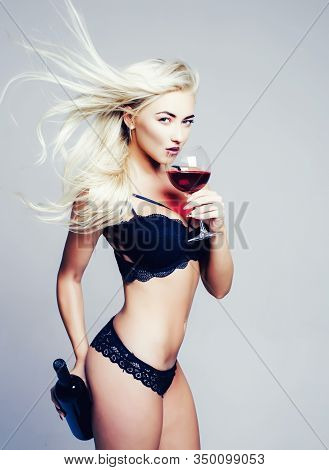 Blonde Girl Strippers And Drink Wine. Wine Festival Concept. Its For Man. Gender Roles. Private Danc