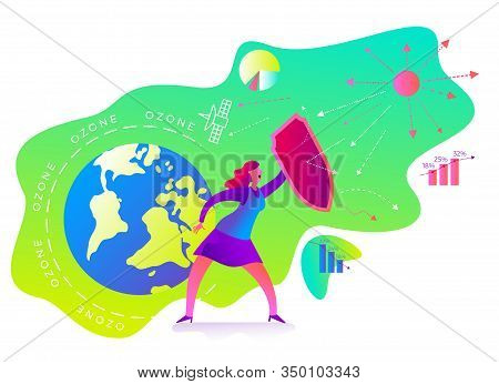 Ecological Illustration. Ozone Depletion. Ozone Hole. Woman With A Shield Covers Planet From Influen