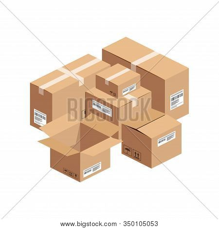 Isometric Big Stack Of Opened And Closed Cardboard Boxes Isolated On Whte Background. 3d Warehouse P