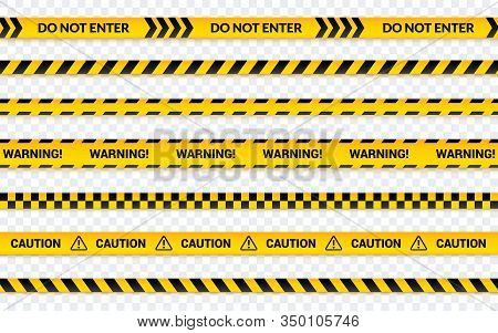 Caution Tape Set, Do Not Enter Yellow Ribbon. Warning Banner With Message Horizontal, Abstract Line