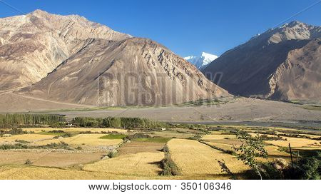 Fields Aroun Panj River, Gorno-badakhshan, Tajikistan And Afghanistan Border, Wakhan Corridor