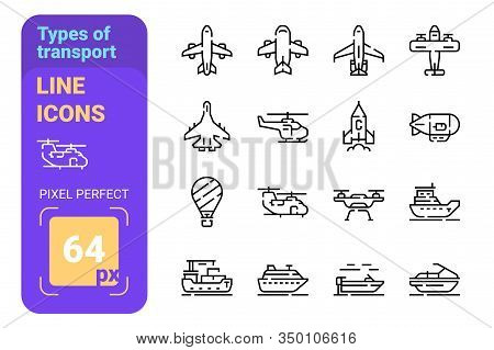 Types Of Transport Line Icons Set Vector Illustration. Collection Of Aircraft Boat And Balloon Flat