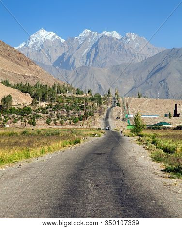 Pamir Highway Or Pamirskij Trakt. Landscape Around Pamir Highway M41 International Road. Wakhan Vall