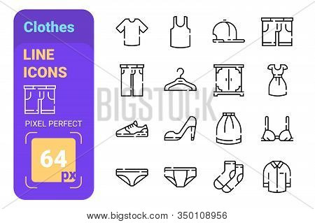 Mans And Womans Fashion Pack Of Clothes Icons Set Vector Illustration. Collection Of Shirt , Trouser