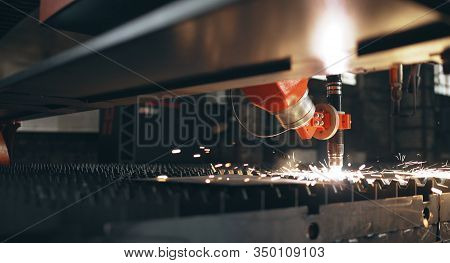A Machine Using Nitrogen And A Laser Burns Thick Metal. Thick Metal Laser Cutting. Cutting Metal Wit