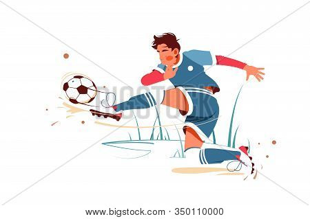 Football Player Kicking Ball Vector Illustration. Special Uniform On Joiner Flat Style Design. Footb