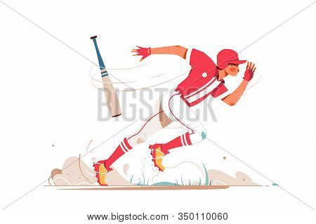 Professional Baseball Player Running After Ball Vector Illustration. Falling Bat On Sand Ground Flat