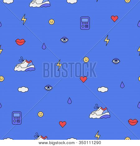 Seamless Pattern With Different Elements From The 80s And 90s Fashion. Abstract Outline Drawings In
