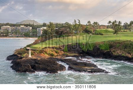 Nawiliwili, Kauai, Hawaii, Usa. - January 16, 2020: Early Morning Light On Kukii Point Lighthouse Or