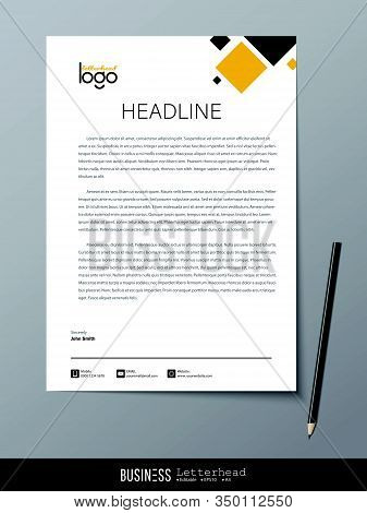 Letterhead Modern Design Template And Mockup Minimalist Style Vector Bundle. Set Design For Business