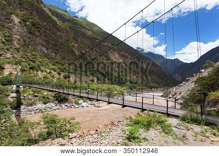 Rope Hanging Suspension Bridge And Rio Apurimac, Apurimac Is Upper Part Of The Longist  And The Larg