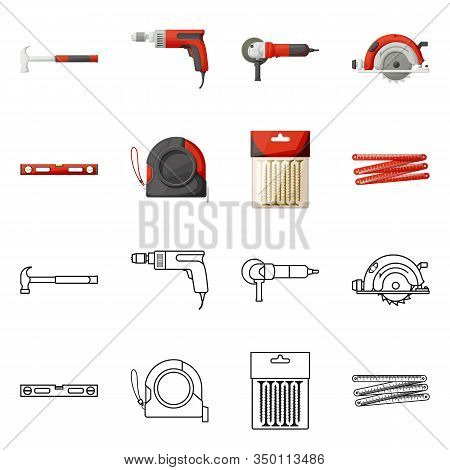 Vector Illustration Of Household And Repair Logo. Collection Of Household And Overhaul Vector Icon F