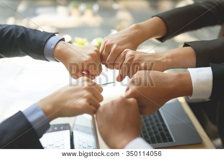 Teamwork Business Join Hand Together Concept, Business Team Standing Hands Together, Volunteer Chari