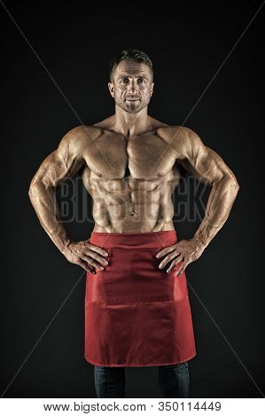 Cooking For Fitness. Fitness Cook. Strong Cook With Fit Torso On Black Background. Athletic Man Wear