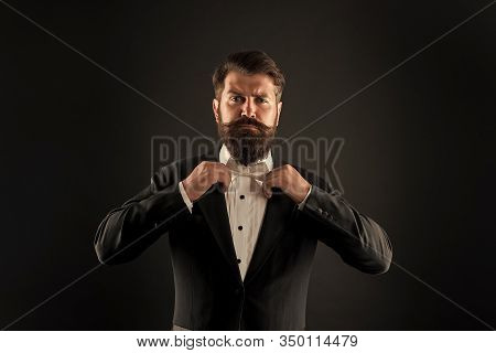 Bearded Man With Bow Tie. Well Dressed And Scrupulously Neat. Hipster Formal Suit Tuxedo. Difference