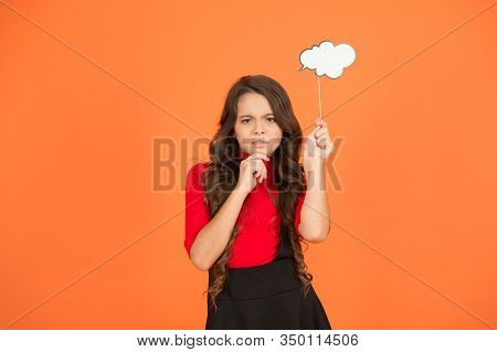 Thoughts About Future. Smart Child With Party Cloud. Pretty Thoughtful Kid Long Curly Hair. Have You