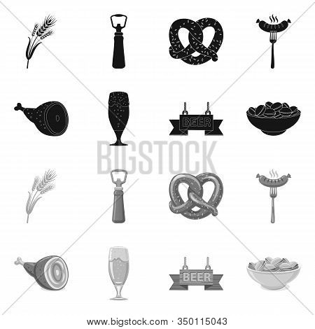 Vector Illustration Of Pub And Bar Icon. Set Of Pub And Interior Vector Icon For Stock.