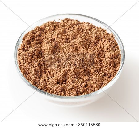 Uncooked Cacao Powder In Glass Bowl Isolated On White Background With Clipping Path