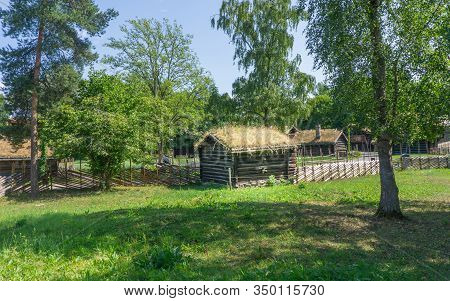 Oslo, Norway - July 19, 2018: Folkemuseum.log Houses In The Farmstead From Оsterdal.front View. Eart