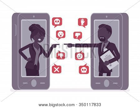Cyberbullying, Business People Smartphone Bullying, Harmful Gadget Harassment. Hating, Trolling Via