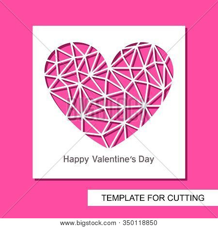 Romantic Card With A Carved Heart. Polygonal Triangular Shape Of A Crystal Or Diamond. Gift For Vale