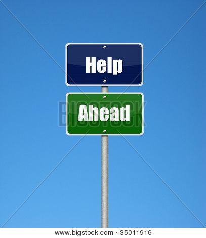Help ahead sign