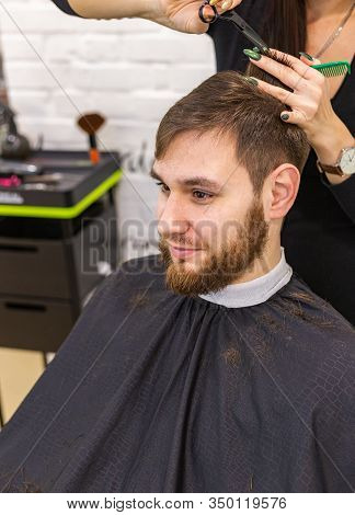 Hairdresser Doing Haircut For Male Client, Man With Beard Using Professional Hairdresser Tools, Equi